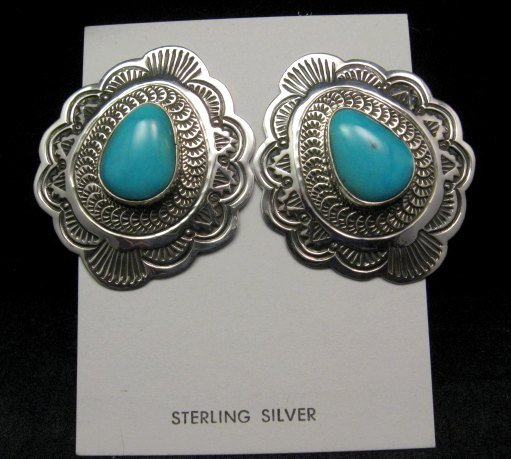 Image 3 of Arnold Blackgoat Navajo Turquoise Sterling Silver Earrings