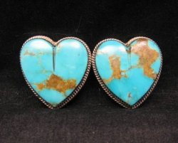 Native American Turquoise Silver Heart Earrings, Clip-on, Rosella Sandoval