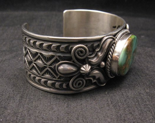 Image 3 of Andy Cadman Navajo Native American Royston Turquoise Silver Bracelet