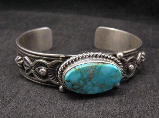 Image 1 of Larson Lee Navajo Native American Turquoise Sterling Silver Bracelet
