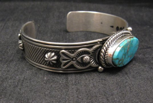 Image 2 of Larson Lee Navajo Native American Turquoise Sterling Silver Bracelet