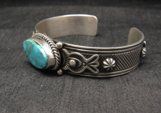 Image 3 of Larson Lee Navajo Native American Turquoise Sterling Silver Bracelet