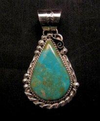 Native American Navajo Kingman Turquoise Silver Pendant, Augestine Largo
