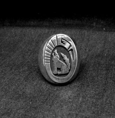 Image 1 of Bigger Native American Navajo Sterling Silver Coyote Ring sz10-1/2