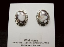 Native American Navajo Wild Horse Sterling Silver Post Earrings, Jane Francisco