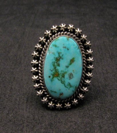Image 0 of Navajo Indian Natural Kingman Turquoise Ring, Happy Piasso sz 7-1/2