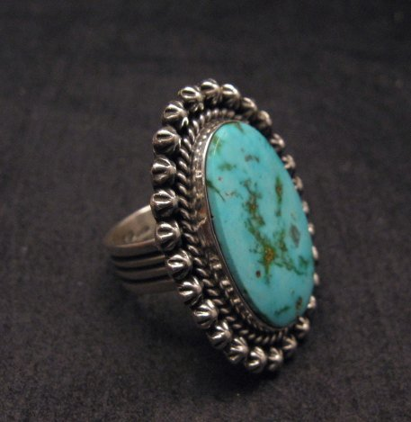 Image 1 of Navajo Indian Natural Kingman Turquoise Ring, Happy Piasso sz 7-1/2