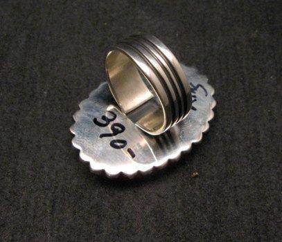 Image 3 of Navajo Indian Natural Kingman Turquoise Ring, Happy Piasso sz 7-1/2