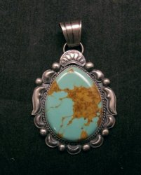 Navajo Native American Indian Turquoise Silver Pendant, Gilbert Tom