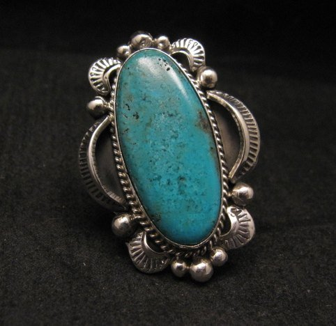 Image 0 of Navajo Native American Indian Turquoise Ring Sz10, Gilbert Tom