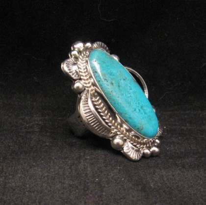 Image 1 of Navajo Native American Indian Turquoise Ring Sz10, Gilbert Tom