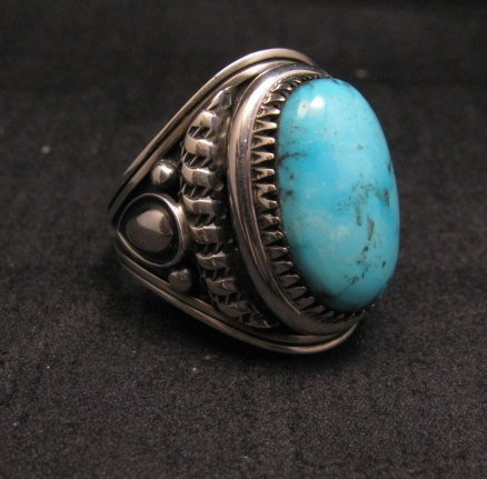 Image 1 of American Indian Navajo Derrick Gordon Turquoise Ring Sz11-3/4