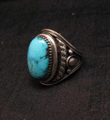 Image 2 of American Indian Navajo Derrick Gordon Turquoise Ring Sz11-3/4