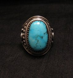 American Indian Navajo Derrick Gordon Turquoise Ring Sz11-3/4
