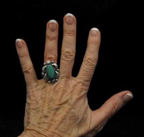 Image 4 of Navajo Native American Indian Royston Turquoise Ring Sz8-3/4, Gilbert Tom
