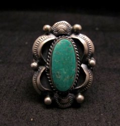 Navajo Native American Indian Royston Turquoise Ring Sz8-3/4, Gilbert Tom
