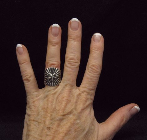 Image 3 of Old Pawn Style Navajo Sterling Silver Ring Sz6-1/2, Derrick Gordon