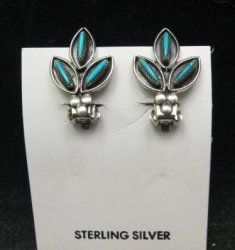 Petite Sleeping Beauty Turquoise Zuni Needlepoint Sterling Silver Clip Earring