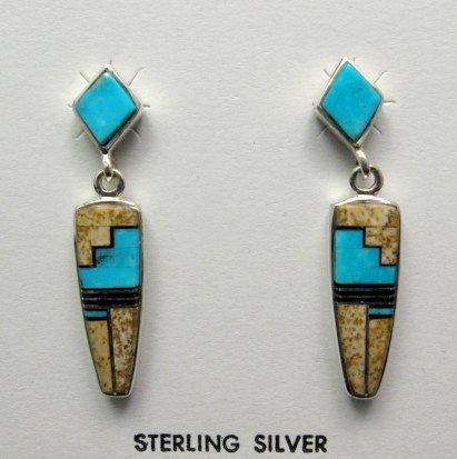 Image 0 of Navajo, Julius Burbank, Sterling Silver Multi Gemstone Inlay Earrings