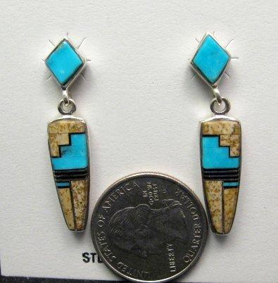 Image 1 of Navajo, Julius Burbank, Sterling Silver Multi Gemstone Inlay Earrings
