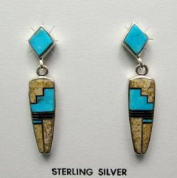 Navajo, Julius Burbank, Sterling Silver Multi Gemstone Inlay Earrings