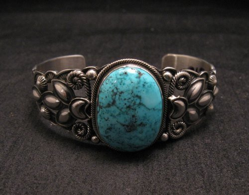 Image 5 of Navajo Native American Indian Turquoise Silver Bracelet, Derrick Gordon