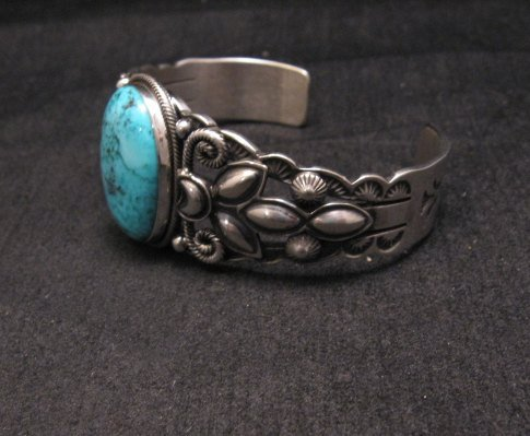 Image 3 of Navajo Native American Indian Turquoise Silver Bracelet, Derrick Gordon
