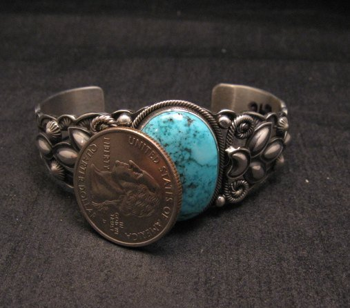 Image 6 of Navajo Native American Indian Turquoise Silver Bracelet, Derrick Gordon