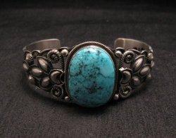 Navajo Native American Indian Turquoise Silver Bracelet, Derrick Gordon