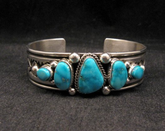 Image 2 of Albert Jake Navajo Native American Indian Turquoise Silver Cuff Bracelet