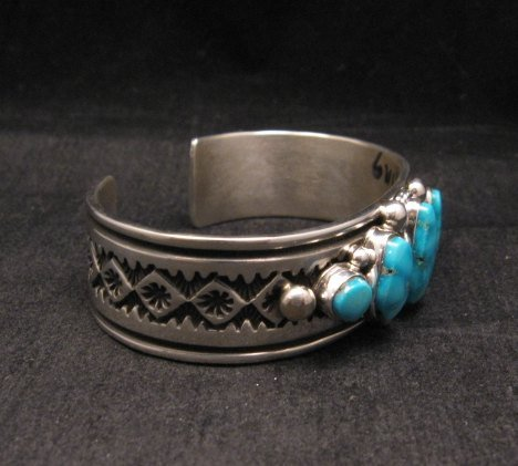 Image 4 of Albert Jake Navajo Native American Indian Turquoise Silver Cuff Bracelet