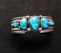 Albert Jake Navajo Native American Indian Turquoise Silver Cuff Bracelet
