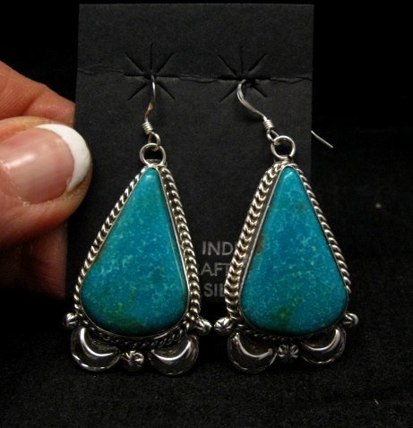 Image 0 of Navajo Native American Indian Turquoise Silver Earrings, Gilbert Tom