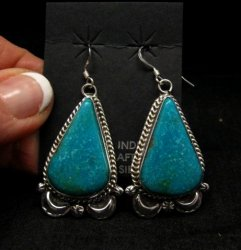 Navajo Native American Indian Turquoise Silver Earrings, Gilbert Tom