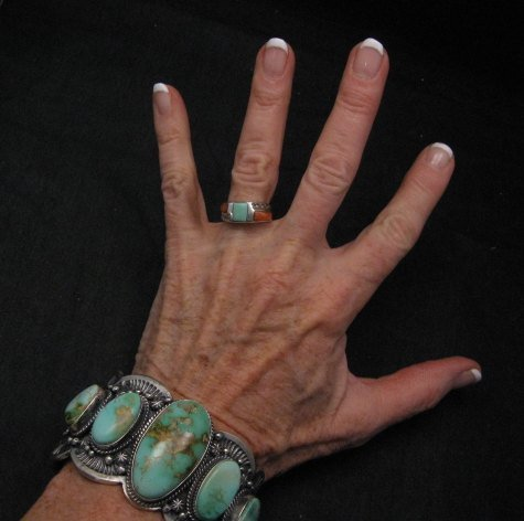 Image 1 of Large Navajo Native American Royston Turquoise Silver Cuff Bracelet, Gilbert Tom