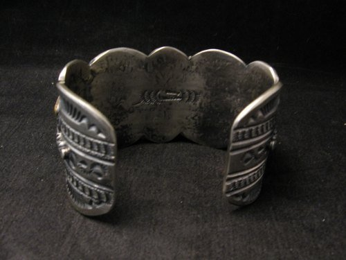 Image 7 of Large Navajo Native American Royston Turquoise Silver Cuff Bracelet, Gilbert Tom
