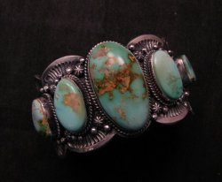 Large Navajo Native American Royston Turquoise Silver Cuff Bracelet, Gilbert Tom