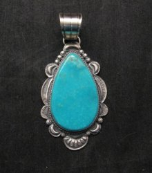 Big Native American Navajo Kingman Turquoise Silver Pendant, Gilbert Tom