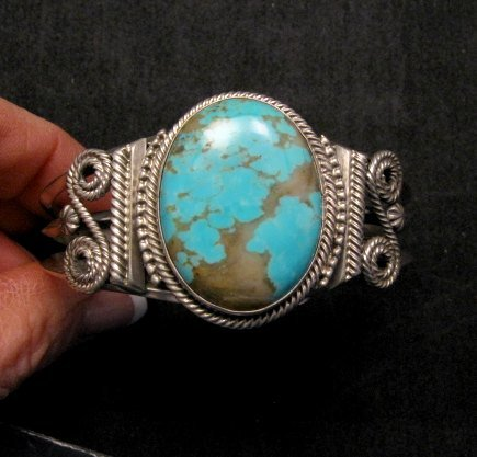 Image 0 of Navajo ~ Gilbert Tom ~ Native American Turquoise Silver Bracelet