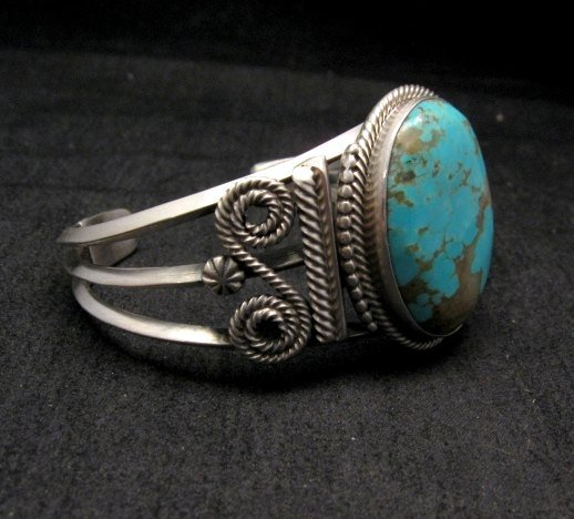 Image 2 of Navajo ~ Gilbert Tom ~ Native American Turquoise Silver Bracelet