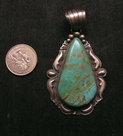 Image 1 of Navajo Native American Indian Turquoise Silver Pendant, Robert Shakey
