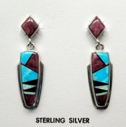 Navajo, Julius Burbank, Sterling Silver Multi Gem Inlay Earrings