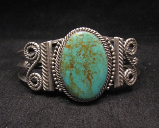 Image 0 of Navajo ~ Gilbert Tom ~ Native American Indian Turquoise Silver Bracelet