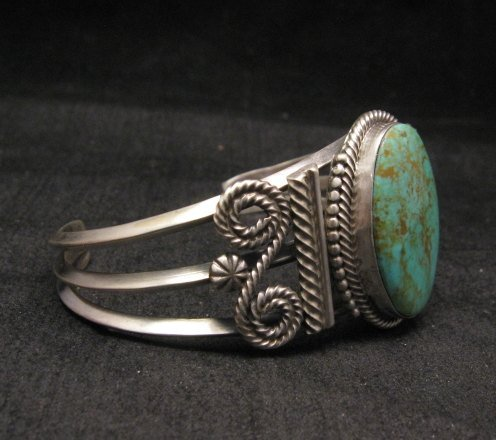 Image 1 of Navajo ~ Gilbert Tom ~ Native American Indian Turquoise Silver Bracelet