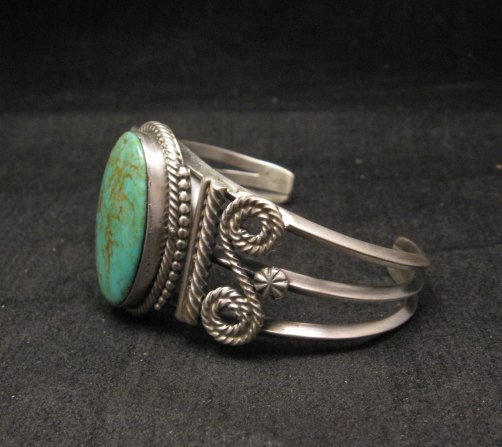 Image 2 of Navajo ~ Gilbert Tom ~ Native American Indian Turquoise Silver Bracelet