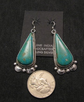 Image 1 of Navajo Kingman Turquoise Silver Earrings, Gilbert Tom