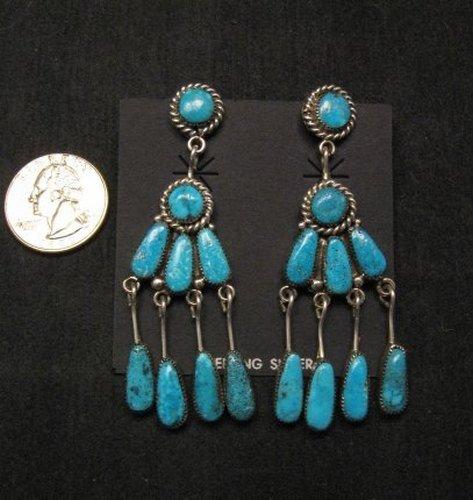 Image 1 of Robert & Bernice Leekya Zuni Turquoise Chandelier Earrings