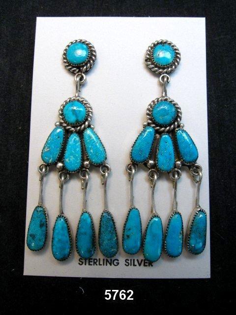 Image 0 of Robert & Bernice Leekya Zuni Turquoise Chandelier Earrings