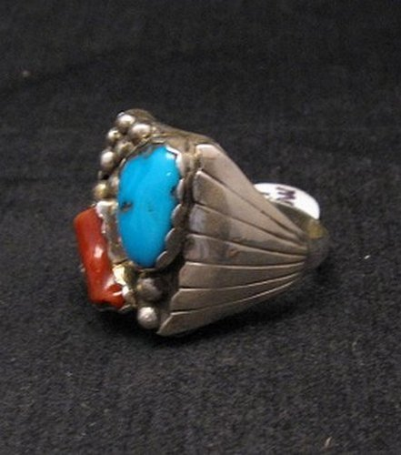 Image 2 of Navajo Native American Turquoise & Coral Sterling Silver Mens Ring sz13-1/2