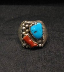 Navajo Native American Turquoise & Coral Sterling Silver Mens Ring sz13-1/2